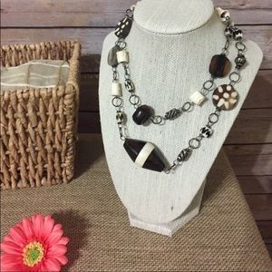 Jewelry - Brown & Cream Tribal Necklace